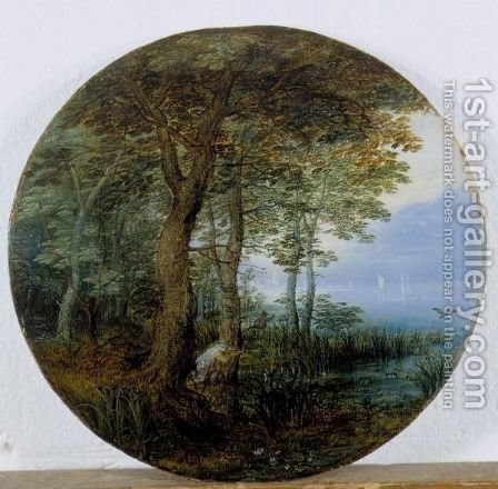 Hunters In A Wooded Landscape By A River by (after) Jan, The Younger Brueghel - Reproduction Oil Painting