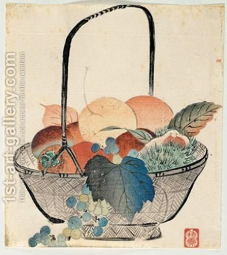 Surimono Corbeille De Fruits by Hogi Morimura - Reproduction Oil Painting