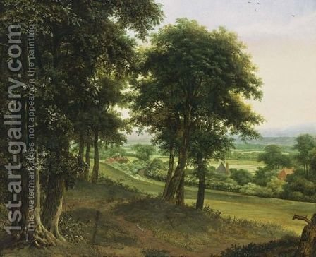 An Extensive Wooded Landscape With Houses, Hills Beyond by (after) Jan Lagoor - Reproduction Oil Painting