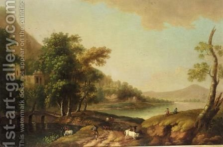 An Italianate Landscape by (after) John Inigo Richards - Reproduction Oil Painting