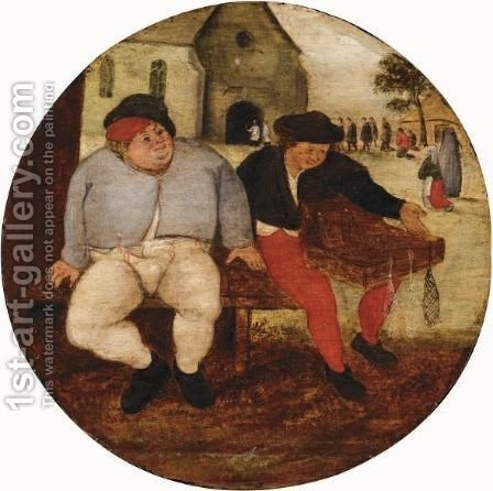 A Proverb Scene by (after) Pieter The Younger Brueghel - Reproduction Oil Painting