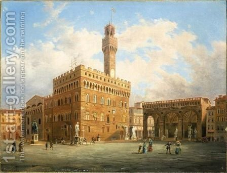 Piazza Della Signoria, Firenze by Italian School - Reproduction Oil Painting