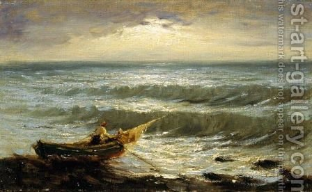Pescatore Al Tramonto by Achille Tominetti - Reproduction Oil Painting