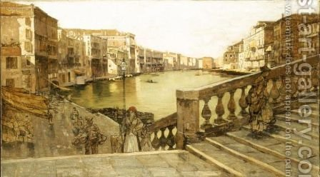 Il Canal Grande Dal Ponte Di Rialto by Guglielmo Ciardi - Reproduction Oil Painting