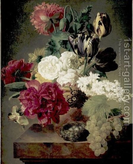 Vase Of Flowers With A Nest On A Ledge by (after) Jan Frans Van Dael - Reproduction Oil Painting