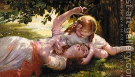 Mother And Child by Isaac Snowman - Reproduction Oil Painting