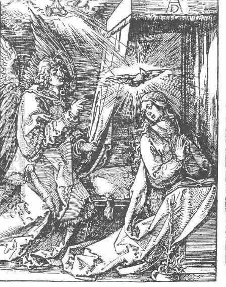 The Annunciation, From The Small Passion by Albrecht Durer - Reproduction Oil Painting