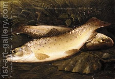 Still Life Of Trout by Henry Leonidas Rolfe - Reproduction Oil Painting