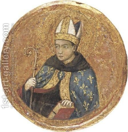 Saint Louis Of Toulouse by (after) Simone Martini - Reproduction Oil Painting