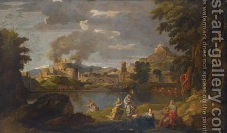 Orpheus And Eurydice In A Classical Landscape by (after) Nicolas Poussin - Reproduction Oil Painting