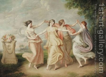 A Landscape With Four Nymphs Dancing by (after) Cipriani, Giovanni Battista - Reproduction Oil Painting