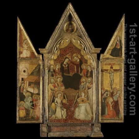 Triptych The Coronation Of The Virgin With Saints by Italian Unknown Master - Reproduction Oil Painting
