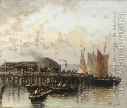 Arrivo Dei Pescatori Al Molo by Achille Dovera - Reproduction Oil Painting