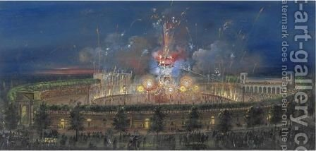 Arena Di Milano, Spettacolo Pirotecnico by (after) Carlo Bossoli - Reproduction Oil Painting
