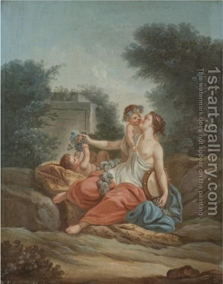 A Bacchante Playing With Two Putti by (after) Jean-Baptiste Huet I - Reproduction Oil Painting