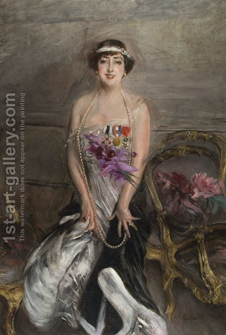 Ritratto Di Lady Michelham by Giovanni Boldini - Reproduction Oil Painting