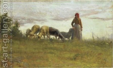 Pecore Al Pascolo by Adolfo Tommasi - Reproduction Oil Painting