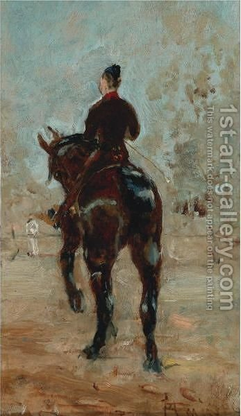 Artilleur A Cheval, Vue De Dos by Toulouse-Lautrec - Reproduction Oil Painting