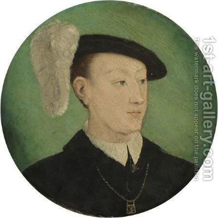 Portrait Of A Young Man, Head And Shoulders, Wearing A Black Coat And A Feathered Hat, Possibly Francois, Dauphin Of France (1518-1536) by (after) Corneille De Lyon - Reproduction Oil Painting