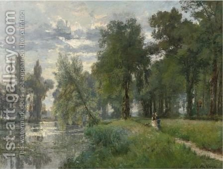 Walking By The River by Alexandre Rene Veron - Reproduction Oil Painting