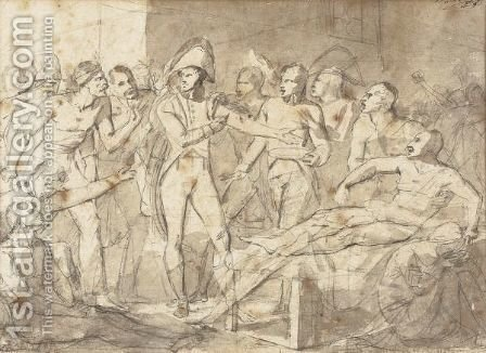 Study for Napoleon putting Marie-Luise and the king of Rome under the protection of national guard on 23 February 1814 by (after) Antoine-Jean Gros - Reproduction Oil Painting