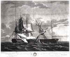 Neo-Classical painting reproductions: Representation of the US frigate, 'Constitution', Isaac Hull (1773-1843) Esq. Commander, Capturing His Britannic Majesty's Frigate, 'Guerriere', James R. Dacres, Esq. Commander