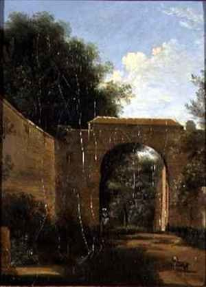 Reproduction oil paintings - Jean-Victor Bertin - A Walled Garden