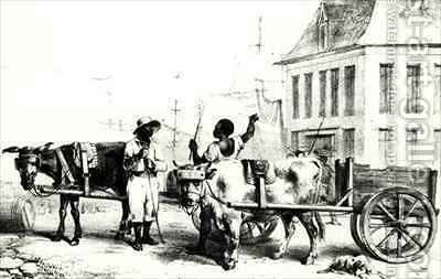 Negro Boys with bullock carts, from 'Voyage a Surinam' by (after) Benoit, Pierre J. - Reproduction Oil Painting