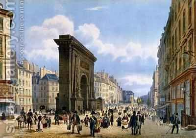 View of the Porte St. Denis, from 'Promenades dans Paris et ses environs' by (after) Benoist, Philippe - Reproduction Oil Painting