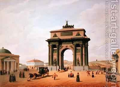 The Triumphal Arch in the Tverskaya Square in Moscow by (after) Benoist, Felix - Reproduction Oil Painting