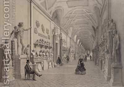 Vatican museums, Chiaramonti Gallery and the entrance of the Braccio Nuovo Gallery, Rome by (after) Benoist, Felix - Reproduction Oil Painting