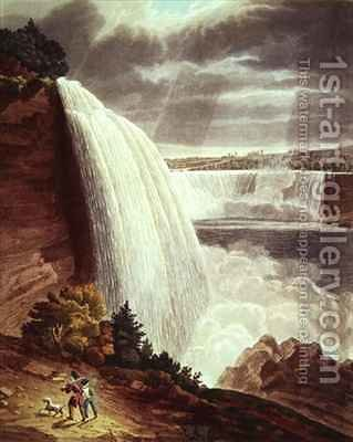 Niagara Falls, part of the American Fall from the Foot of the Stair Case by (after) Bennett, H.J. - Reproduction Oil Painting