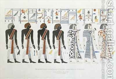 Illustrations of hieroglyphics from the Tombs of the Kings at Thebes by (after) Belzoni, Giovanni Battista - Reproduction Oil Painting