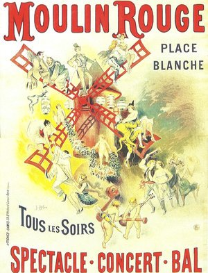 Famous paintings of Mills: Poster advertising the Moulin Rouge