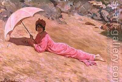 Girl lying on the beach with a pink parasol by Adolfo Belimbau - Reproduction Oil Painting