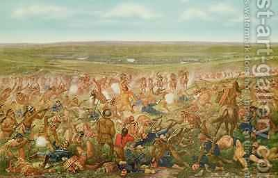 The Artist's Conception of the Battle of Little Big Horn by (after) Becker, Otto - Reproduction Oil Painting
