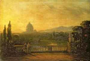 Sir George Howland Beaumont reproductions - View of St.Peter's, Rome from the terrace of a villa