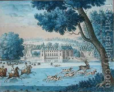Chateau of the Duc de Bourbon and Hunting on the Lawn at Chantilly by J. Beaufort - Reproduction Oil Painting