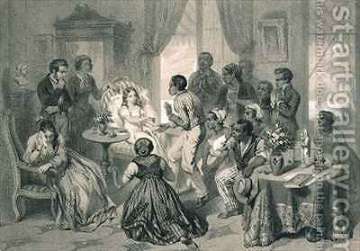 The Death of Evangeline, plate 6 from 'Uncle Tom's Cabin' by (after) Bayot, Adolphe Jean-Baptiste - Reproduction Oil Painting