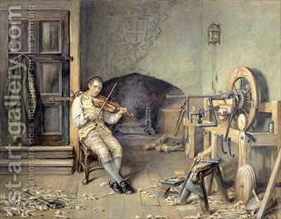 Samuel Crompton (1753-1827) Inventing his Spinning Mule by Alfred Walter Bayes - Reproduction Oil Painting