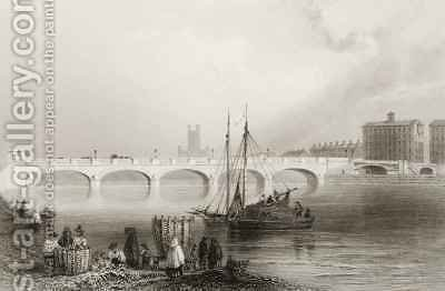 Wellesley Bridge, Limerick, Ireland by (after) Bartlett, William Henry - Reproduction Oil Painting