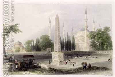 An Egyptian obelisk in the Atmeidan, or Hippodrome, Istanbul by (after) Bartlett, William Henry - Reproduction Oil Painting