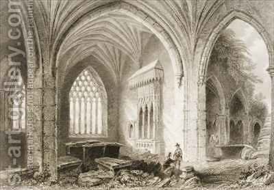 Interior of Holycross Abbey, County Tipperary, Ireland by (after) Bartlett, William Henry - Reproduction Oil Painting
