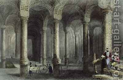 The Cistern of Bin-Veber-Direg, or The Thousand and One, Istanbul by (after) Bartlett, William Henry - Reproduction Oil Painting