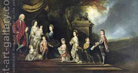 John 2nd Earl of Egmont (1711-1770) and His Family by Hugh Barron - Reproduction Oil Painting