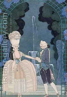 Love under the Fountain by (after) Barbier, Georges - Reproduction Oil Painting