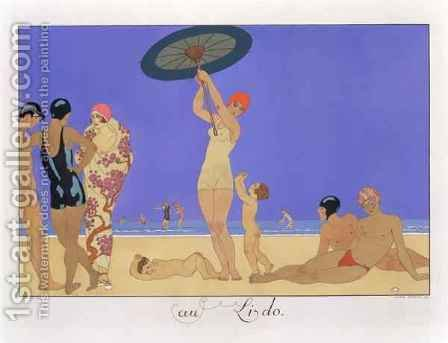 At the Lido by (after) Barbier, Georges - Reproduction Oil Painting