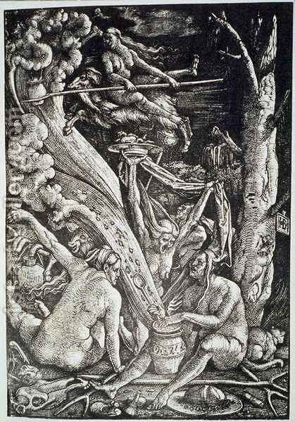 The Witches at the Sabbath, after Hans Baldung Grien by (after) Baldung Grien, Hans - Reproduction Oil Painting