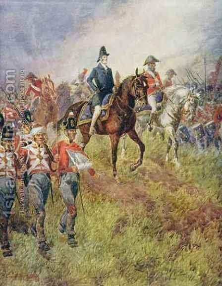 'The Whole Line Will Advance', Wellington at the Battle of Waterloo in 1815 by (after) Baker, B. Granville - Reproduction Oil Painting