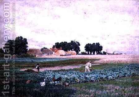Cabbage Field and Farm by Henry Bailey - Reproduction Oil Painting